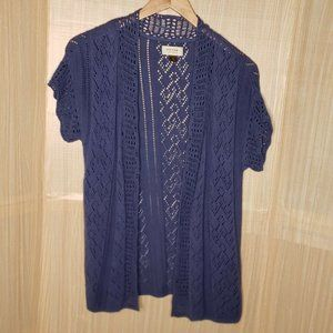 Sonoma Life & Style Blue Open Cardigan Small